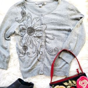 Forever 21 gray beaded button down cardigan